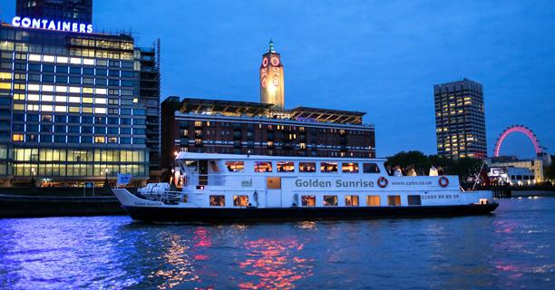 Golden Sunrise party boat by the Oxo Tower in London