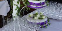 Wedding cake and flowers on the Golden Jubilee